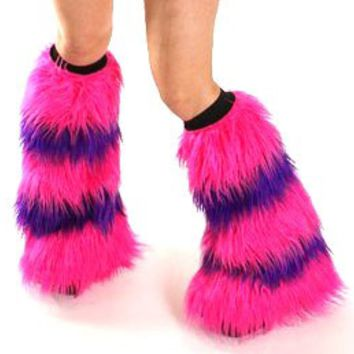 Fluffies Rave Fuzzy Boot Covers Hot Pink and Purple Fluffy Leg Warmers
