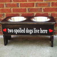 """Distressed Personalized Dog Feeder -15""""' Tall - Two 2 Quart Bowls"""