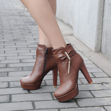 Tassel High Heels Ankle Boots Platform Zipper Women Shoes 76134578