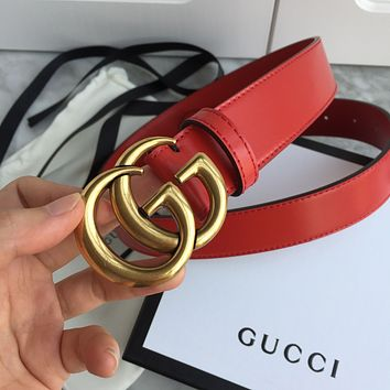 GG classic solid color men's and women's gold letter buckle belt 1