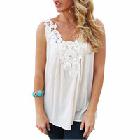 Summer Women Chiffon Stitching Lace Sling Shirt Clothes