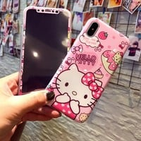 "For iphone X Kitty phone Cases Cover + Tempered Glass Screen Protector Flim for Apple iPhone X 5.8"" Cartoon Hello kitty Fudas"