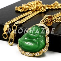 Stainless Steel Gold Smiling Chubby Buddha (Green Jade) Pendant w/Cuban Chain