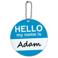 Adam Hello My Name Is Round ID Card Luggage Tag