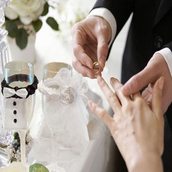 Wedding Party Toasting Wine Glass Covers Bride and Groom Tux Bridal Veil 2 Psc = 1929673476