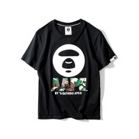 Couple Short Sleeve Print Black Round-neck T-shirts [10641292359]