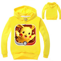 Autumn Winter Kids Baby Boys Girls Hoodies Sweatshirt Pokemon GO Long Sleeve Tops Clothes 2-7Y