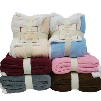 """Reversible Sherpa/ Microplush Throw Blanket- 50""""x 60""""- Multiple Colors"""