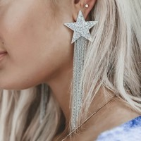 Sabrina Silver Star Tassel Earrings