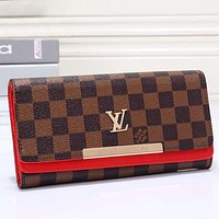 Louis Vuitton LV Women Leather Tartan Pattern Wallet Purse