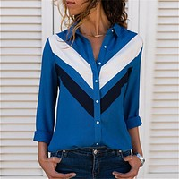 fhotwinter19 Hot new style lapel button color matching long sleeve women's shirt