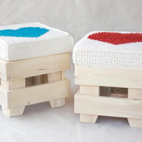 Wooden stool - reclaimed wood furniture - pillow with red heart