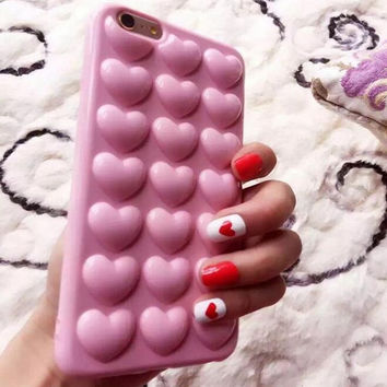 Heart bubble pink phone case for iphone 7 7plus 8 8plus X 6 6s 6 plus 6s plus + Nice gift box 072702