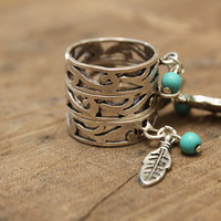 Silver adjustable Ring with Turquoise bead and silver Charm Dangle Handcrafted Jewelry Bohemian Hippie Gypsy Feather Hamsa Heart