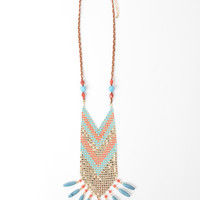 Coral and Turquoise Aztec Necklace