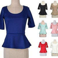 Women Candy Colored Fitted PEPLUM Scoop Neck 3/4 Sleeve TUNIC TOP BLOUSE T Shirt
