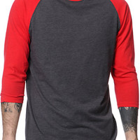 Zine First Place Red & Charcoal Baseball Tee Shirt