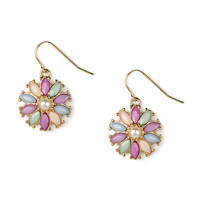 Pearl and Pastel Shiny Stone Flower Drop Earrings