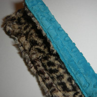Car Seat Strap Cover (Adult/Big Kid) - Cheetah & Turquoise Double Minky Reversible