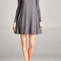Solid Winter Dress - Charcoal