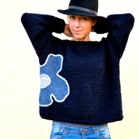 Navy sweater, hand knitted sweater with flower, M size ,3/4 sleeves,  womens clothing