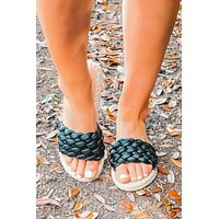 Roped You In Sandals: Black