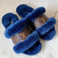 LV Louis Vuitton UGG plush stitching letter print men and women sandals slippers boots Shoes #4