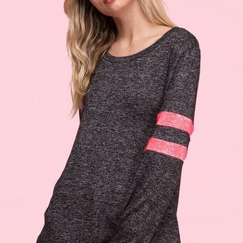 Neon Stripes Sweatshirt - Charcoal and Pink