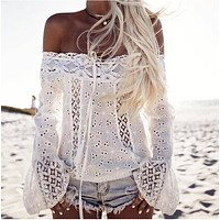 Fashion Off Shoulder Long Sleeve Lace Tassel Stitching Solid Color T-shirt Women's Tops