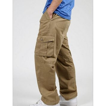 VXO men cargo pants  man pants cotton trousers large yards loose casual pants plus fertilizer to increase cargo pants
