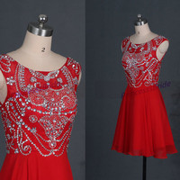 Latest red chiffom prom dresses,short homecoming dress,cheap women gowns for birthday party,new pageant gowns juniors,custom size dresses.