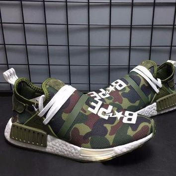 Best Online Sale Bape x Pharrell Williams  x Adidas PW HU Human Race NMD XR1 Green Boost Sport Running Shoes Classic Casual Shoes Sneakers