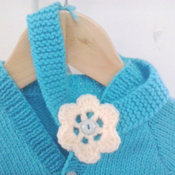 Baby Girl Teal Turquoise Blue Cardigan with matching headband - 0-3 months