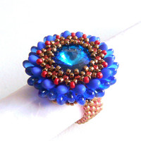 Beaded ring, beadwork ring, flower form coctail ring with beads, metal free
