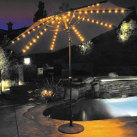 Galtech 9-ft. Aluminum Auto Tilt Patio Umbrella with Umbrella Lights | www.hayneedle.com