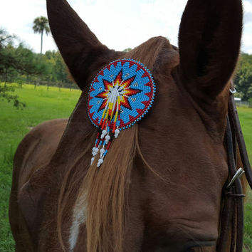 Hope Symbol Seed Beaded Equine Forelock / Mane Ornament with Dangles -  Native American Style Horse Ornament