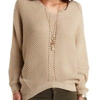 Pointelle Cocoon Pullover Sweater by Charlotte Russe - Taupe Combo
