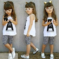 Baby Girls Clothing Set Sleeveless Letter Print Tops Leopard Half Pant Set 2pcs Children Clothing Sets Suits