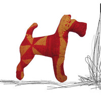 Red & Yellow Terrier brooch - FREE SHIPPING