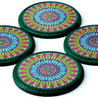 Drink coasters set 4 photo coasters for your coffee table decor, housewarming gift or wedding present Passover Gift (CR035)