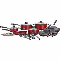 Nonstick 18-Piece Cookware Pots and Pans Set, Red