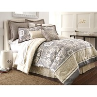 Amrapur Monica Abstract 8 Piece Comforter Set In Slate And Yellow