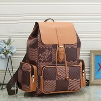 Louis Vuitton LV Retro Backpack Fashion Lady Check Backpack Clutch