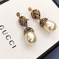 GUCCI Stylish Women Chic Diamond Pearl Pendant Earrings Jewelry Accessories