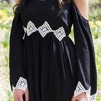 Wishing Well Black Open Shoulder Dress