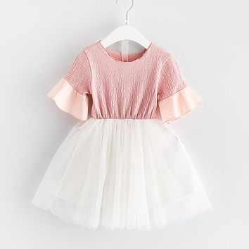 girl solid Flare Sleeve princess dress kid clothing Toddler Girl Clothing Children Clothes