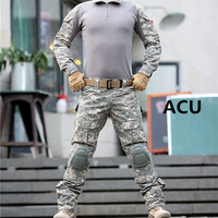 Camouflage Uniforms/ Tactical Pants with Knee Pads- Long Sleeve Shirts/ 10 Color Variations