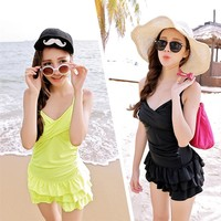 Korea new swimsuits women big breasted gathered one-piece dress swimsuit cover tripe skinny sexy cute hot spring bathing suit - DinoDirect.com