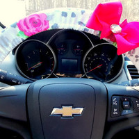Cheetah Rose Steering Wheel Cover with Bow