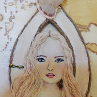Mermaid Decor- Yellow Map Artwork- Blonde Hair- Blue Eyes- Original Coastal Painting- 15X25 inches